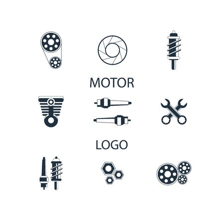 Car Parts Icons Set on White Background. Vector Foto de archivo - 129792434