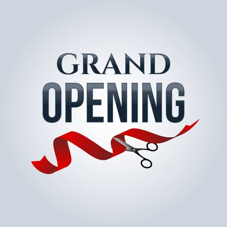 Grand opening poster mock-up with silver scissors cutting red ribbon isolated on white background, design announcement template. Editable and movable objects. Ilustrace