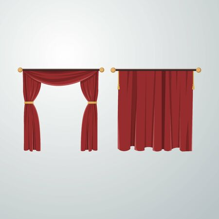 Luxury scarlet red silk velvet curtains and draperies interior decoration design ideas realistic icons collection isolated vector illustration.