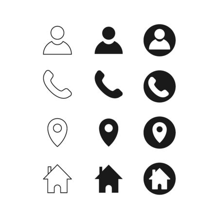 Set of contact detail icon isolated on white background in black. Phone, global, location icon. vector illustration for design element, infographics, business card design