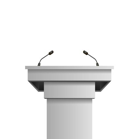 Vector rostrumpodium with microphone on white background. 向量圖像