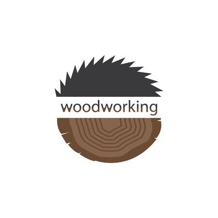 Vector illustration, mark, for design. The cut wood with a saw. Sign of Lumberjack, Woodwork Foto de archivo - 129792383