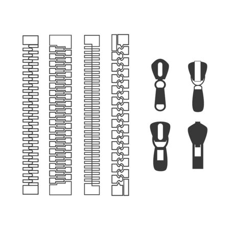 vector zipper black symbols on white background. Иллюстрация