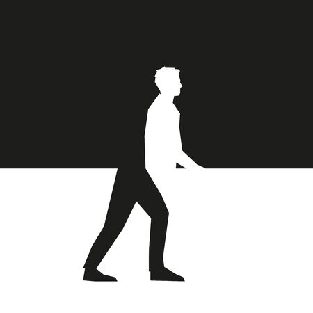 Man walking on street on grey vector background Illustration