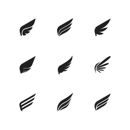 Set of Template Birds Arms. Vector Sign for Tattoos, Labels and Icons. Decorative Isolated Wings