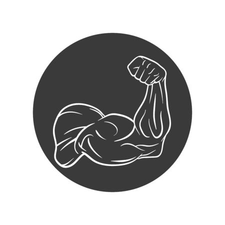 Bodybuilder Template. Vector object and Icons for Sport Label, Gym Badge, Fitness Logo Design, Emblem Graphics.Sport Symbol. 写真素材 - 129792043