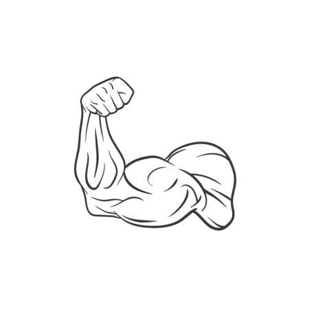 Bodybuilder Template. Vector object and Icons for Sport Label, Gym Badge, Fitness Logo Design, Emblem Graphics.Sport Symbol. Illustration