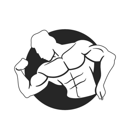 Bodybuilder Template. Vector object and Icons for Sport Label, Gym Badge, Fitness Logo Design, Emblem Graphics.Sport Symbol. 写真素材 - 129792058