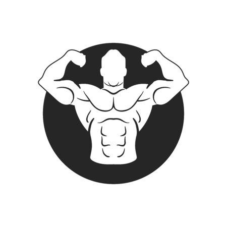 Bodybuilder Template. Vector object and Icons for Sport Label, Gym Badge, Fitness Logo Design, Emblem Graphics.Sport Symbol.  イラスト・ベクター素材