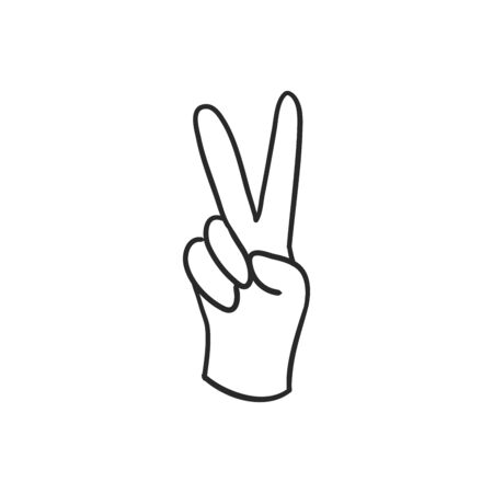 Peace hand gesture icon. Drop shadow victory silhouette symbol. Two fingers up. Negative space. Vector isolated illustration  イラスト・ベクター素材