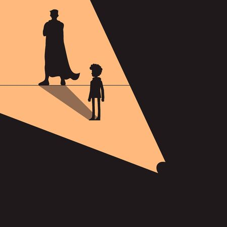 Confident power. boy standing in front wall with shadow successful super hero, isolated on background. Career strength. Shadow of strong man. Vector illustration flat design Standard-Bild - 129792064