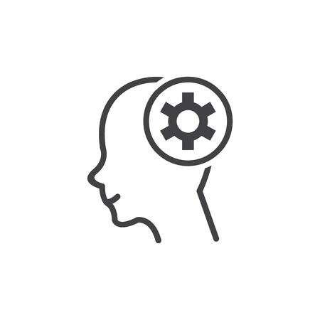 Human head silhouette with set of gears as a brain - idea and innovation concept. Иллюстрация