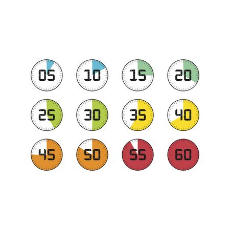 Stopwatch icons set in flat style, timers on color background. Sport clock. Vector design element for your business project.