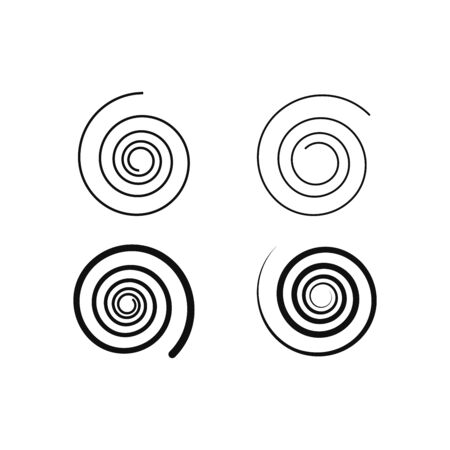 Set of simple spiral elements, isolated vector graphic.