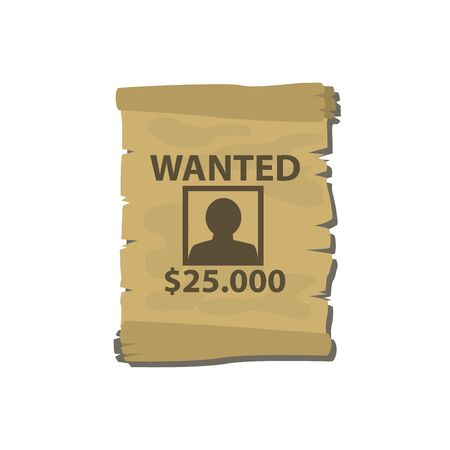 Wintage wanted poster isolated on white photo-realistic vector illustration Çizim