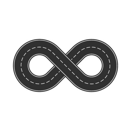 Illustration of the road in the shape of an infinity sign. Stockfoto - 131319730