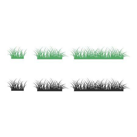 Green and black grass icon on white background flat style