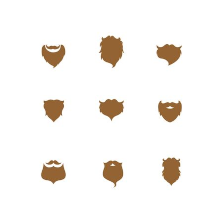 Beard with moustache or mustache vector icons set Çizim