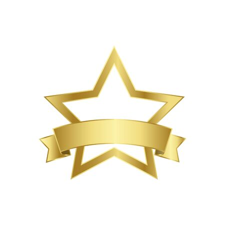 Gold star and gold flag. Vector