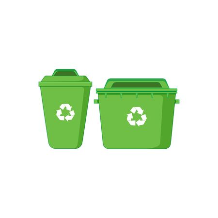 Trash can icon in cartoon style isolated on white background. Trash and garbage symbol vector illustration