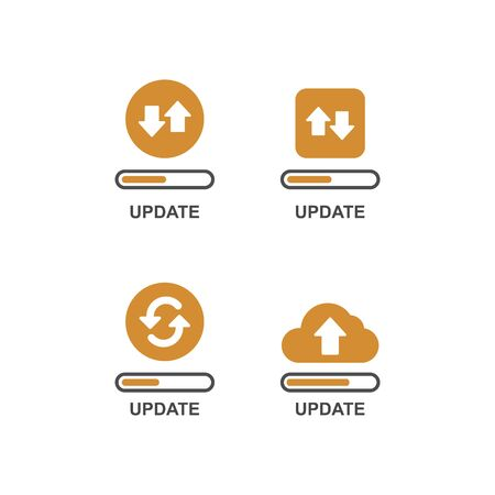 Modern flat editable line design vector illustration, concept of update application progress icon, for graphic and web design