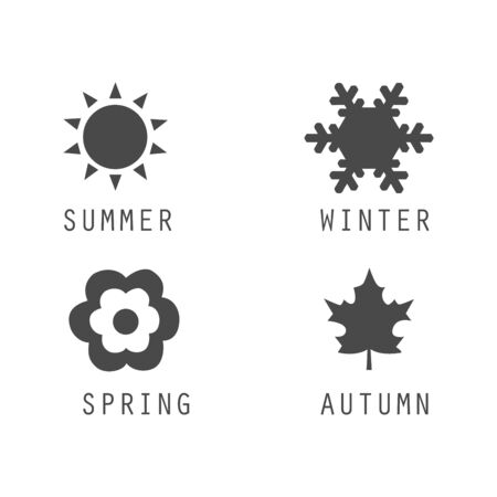 A set of black icons of seasons. The seasons - winter, spring, summer and autumn Illustration