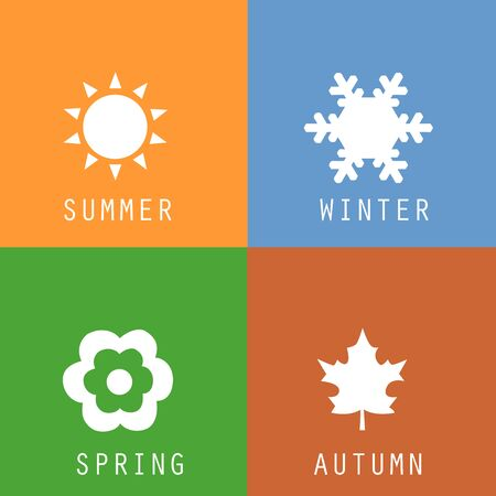 A set of colorful icons of seasons. The seasons - winter, spring, summer and autumn