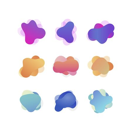 Set of modern liquid fluid abstract elements graphic gradient vector colored line banners shape template can use for presentation, flyer, brochure