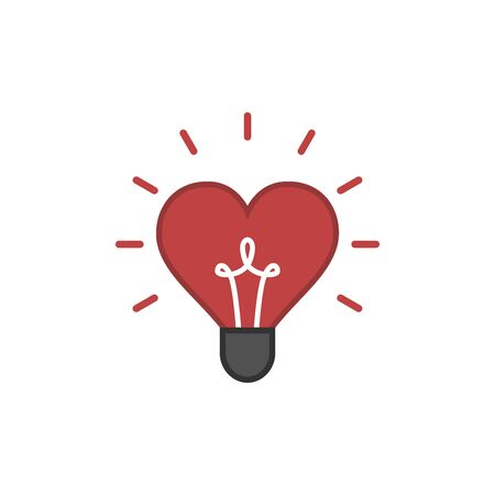 Creative light bulb and Heart sign vector design banner template.Light bulb icon with heart as inspiration concept Ilustração
