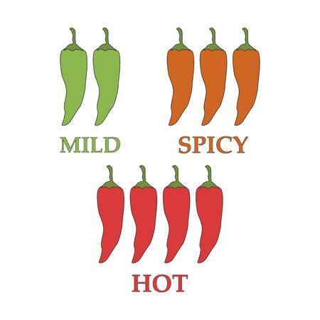 Vector red chilli peppers mild medium hot
