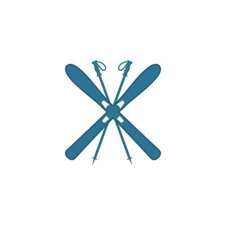 ski and sticks - winter equipment - vector illustration Illustration