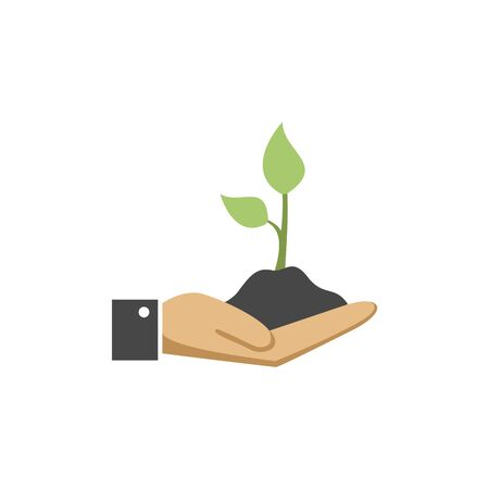 Illustration of human hand holding green small tree. Image for booklets, banners, flayers, article and social media Ilustração