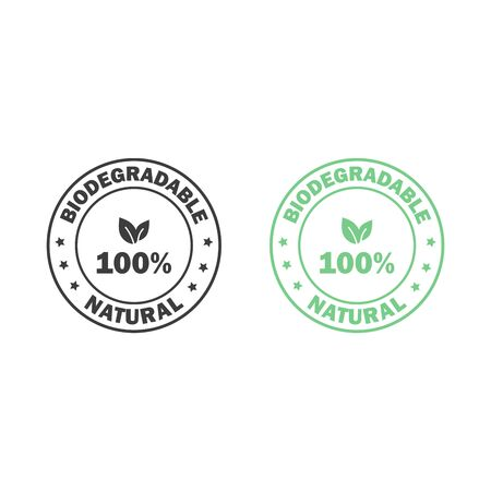 Plastic free. 100 Biodegradable and compostable icon. Round green and black symbol
