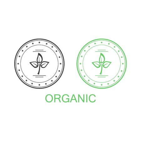 Eco bio green stamp label of healthy organic natural fresh farm food with leaf and paper textures
