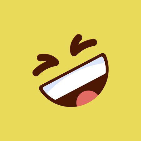 Emoticon laughing, emoji smile symbol, isolated on yellow background, vector illustration