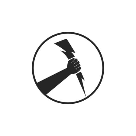 Vector illustration of a human hand in circle holding a lightning flash or thunder bolt symbol