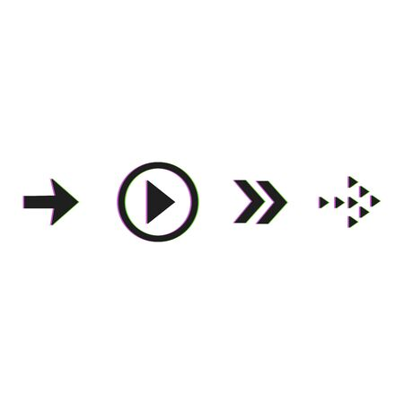 Arrow vector button icon set black color on white background. Isolated interface line symbol for app, web and music digital illustration design