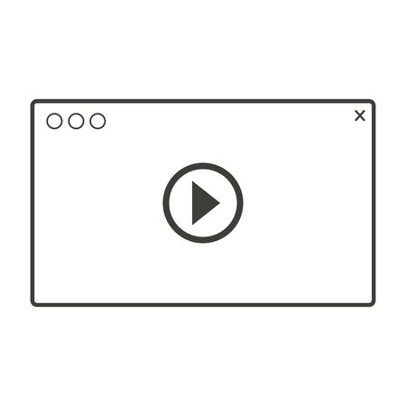 Media player interface line design black color on white background