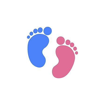 Blue and pink Baby footprint. Vector Illustration