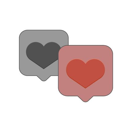 black and red heart in speech bubbles vector illustration