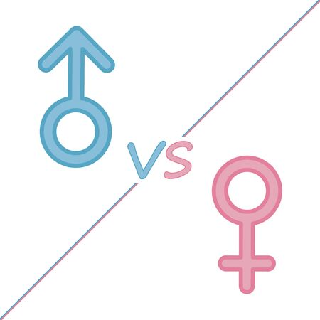 Male and female symbols combination vector illustration on white background