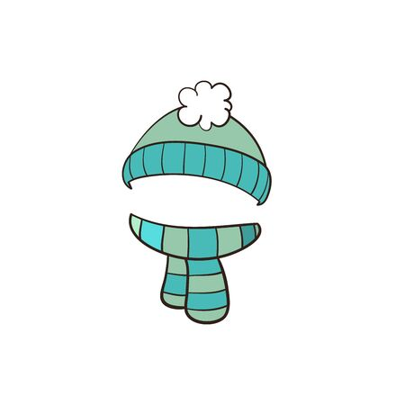 Blue winter hat with scarf isolated on white background. Vector illustration