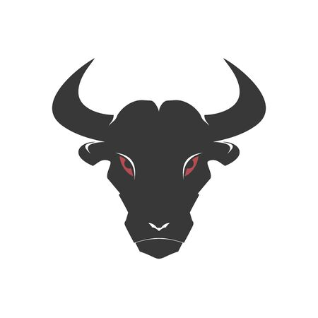 Stylized black bull face on the white background