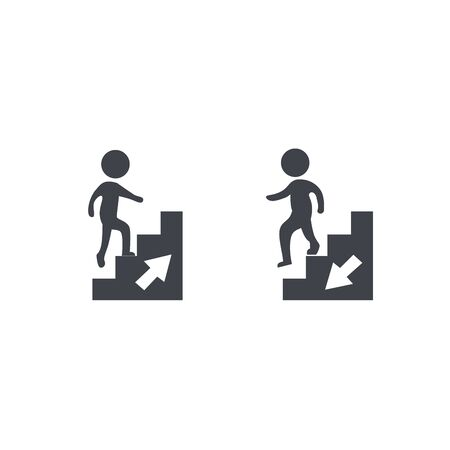 Upstairs-downstairs icon sign. Walking man in the stairs. Career symbol. flat design. Vector illustration
