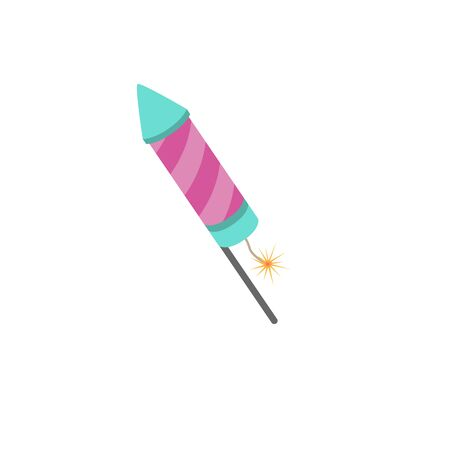 Firecracker icon. Flat design style modern vector illustration. Isolated on stylish color background. Flat long shadow icon. Elements in flat design.