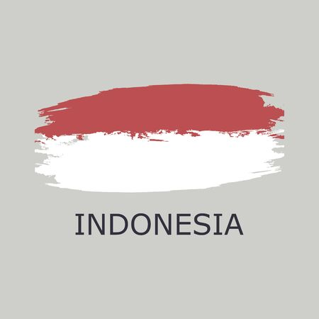 Template backaground. Indonesian flag made of colorful splashes