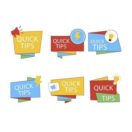 Quick tips mega set, helpful tricks vector, emblems and banners vector set isolated. Helpful idea, solution and trick