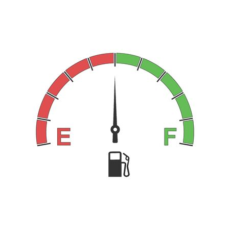 Fuel gauge vector design with arrow and red indicator