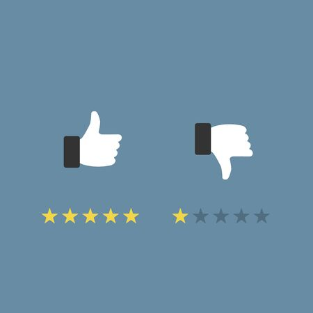 Like or dislike fingers vector icons, flat cartoon hands with thumb up and thumb down symbols, concept of review or feedback signs isolated Çizim