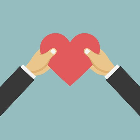 Hands giving red heart. Vector illustration flat design. Holding heart in hands. Symbol of charity, love, sincerity